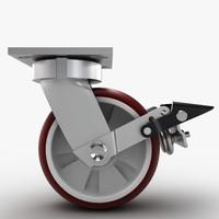 3d model of caster wheel