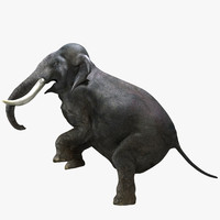 obj photorealistic elephant rigged