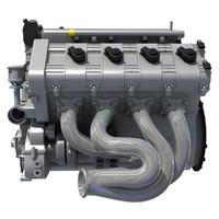 3d v engine model
