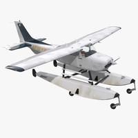 cessna 172 seaplane 3d model