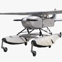 3d model cessna 172 seaplane rigged