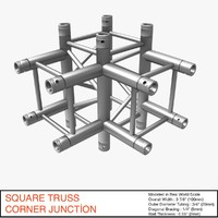 3d square truss corner junction model