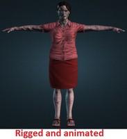 3d female zombie model
