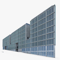 3d model modern office building glass