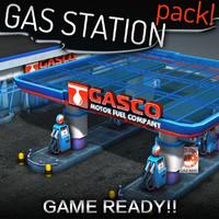 3d model gas station pack -