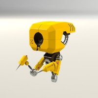 free obj model robot yellow