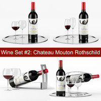 3d red wine set chateau model