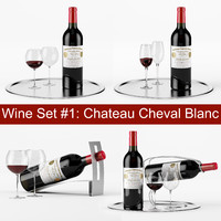 Red wine set #1: Chateau Cheval Blanc bottle, glass, tray, wine holder \ stand (high poly models)