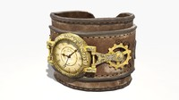 steampunk leather wrist watch obj