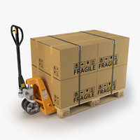 3d hand pallet truck cardboard boxes