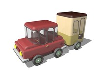Low Poly Car and Trailer