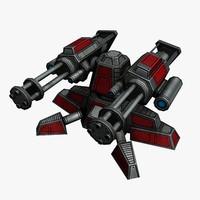 3d sci-fi mini gun model