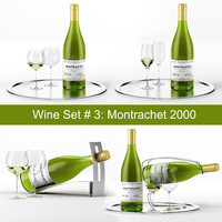 wine set bottle tray 3d model