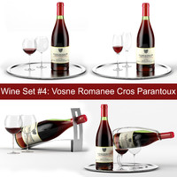 Wine set #4: Vosne Romanee Cros Parantoux bottle, 2 sort of wineglass, tray, wine holder \ stand (high quality models)
