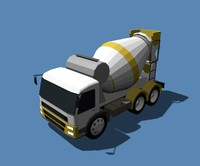 Low Poly Concrete Mixer Truck