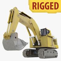 3d rigged shovel excavator construction