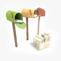 mailboxes letters package 3d model