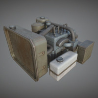 Car Engine PBR V-Ray Game Ready