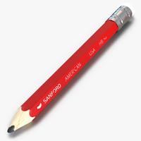 3d short pencil model