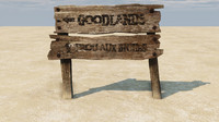 3d old wooden sign board model