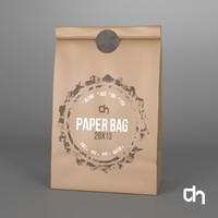 brown paper bag 20x13 3d obj