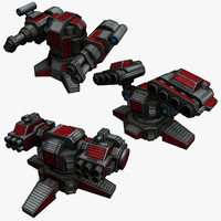 3 sci-fi rocket launchers 3d model