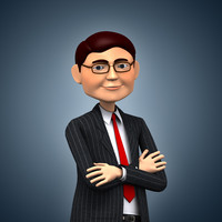 3d rigged cartoon businessman model