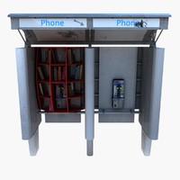 kiosk telephone 3d model