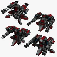 3d 4 sci-fi mini guns model