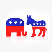 3d political republican elephant democratic model