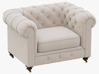 3d restoration hardware kensington upholstered