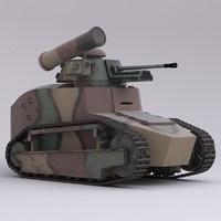 3d model military tank