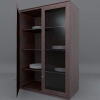 3d model of tall double door cabinet