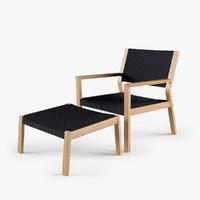 3d maze lounge chair footstool model
