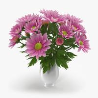 3d chrysanthemum vase