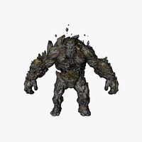3d golem character animation model