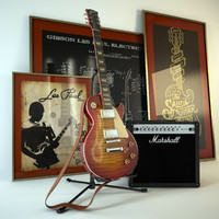 Electric guitar Gibson Les Paul and amplifier Marshall