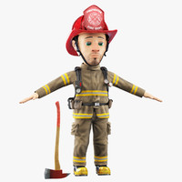 Cartoon Firefighter Face Rig