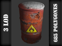 3d old metal barrel model