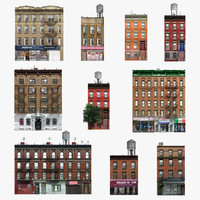 3d photorealistic 10 buildings set model
