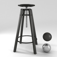 3d ikea dalfred bar stool model