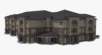 residential apartment building street 3d model