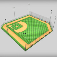 Baseball stadium pitch diamond low poly