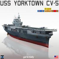 uss yorktown cv-5 cv 3d model
