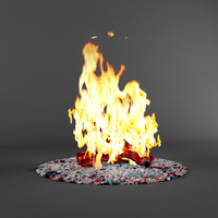 3d bonfire fireplace