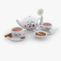 3d model of porcelain tea set