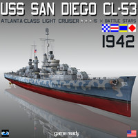 uss san diego camouflage 3ds