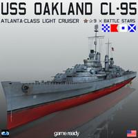 uss oakland cl-95 cl 3d max