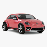 3d volkswagen beetle 2016 red model