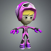 3d character riders mesh model